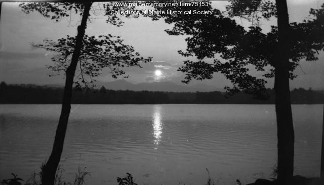 Sunset over lake, ca. 1915