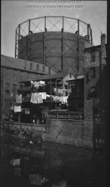 Clothes lines and reflection, ca. 1920