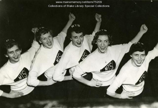 Madawaska Training School cheerleaders, Fort Kent, 1955