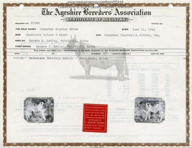 Madawaska Training School livestock certificate, Fort Kent, 1942