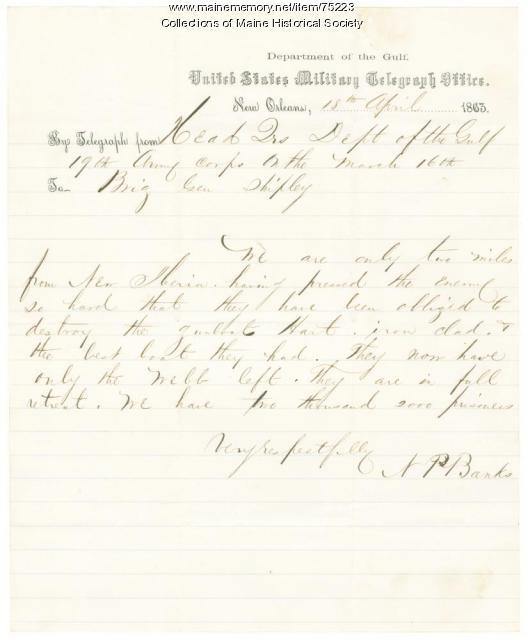 Gen. Banks telegram on Confederates loss of boat, Louisiana, 1863