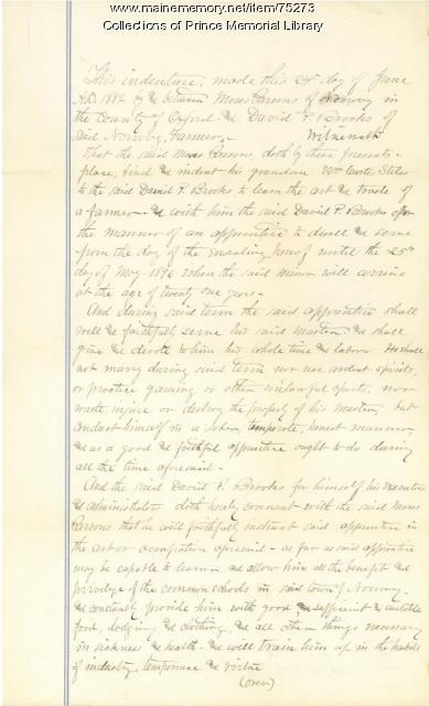 William Curtis Stiles, indenture document, Cumberland, 1882