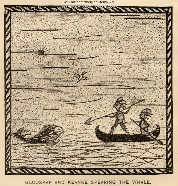 Glooskap and Keanke spearing the whale