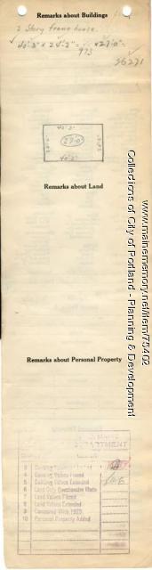 Assessor's Record, 54-58 Sherman Street, Portland, 1924