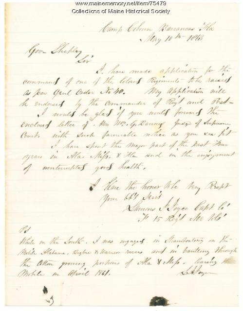 Laurens Joyce request for troop command, Florida, 1863