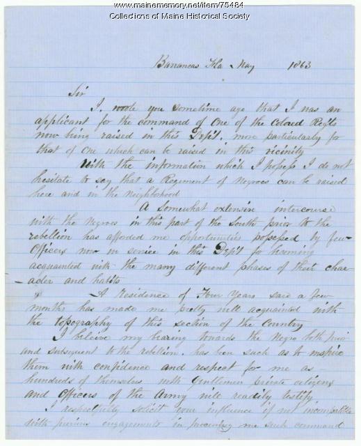 Capt. Joyce letter on Black troops, 1863