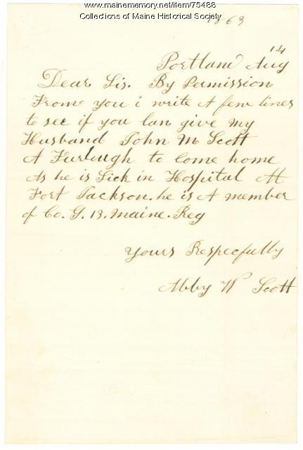 Letter seeking furlough for ill soldier, New Orleans, 1863