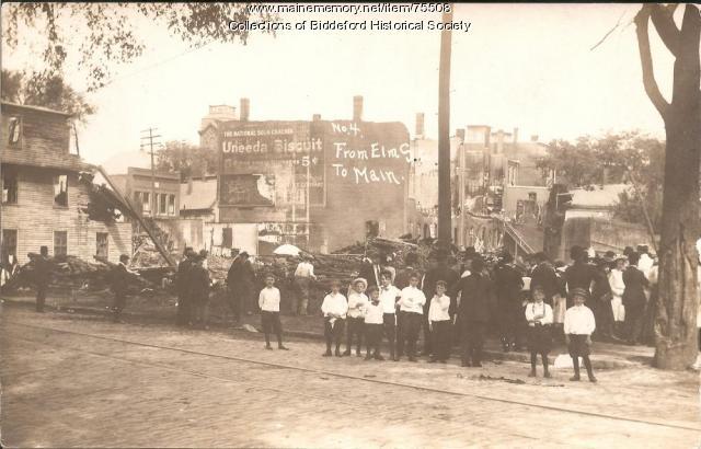 Fire at Harmon's corner, Biddeford, 1911