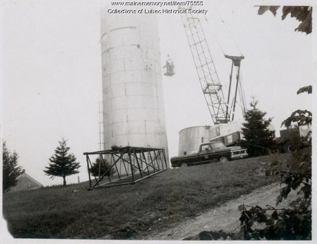 Removal of standpipe, Lubec, ca. 1983