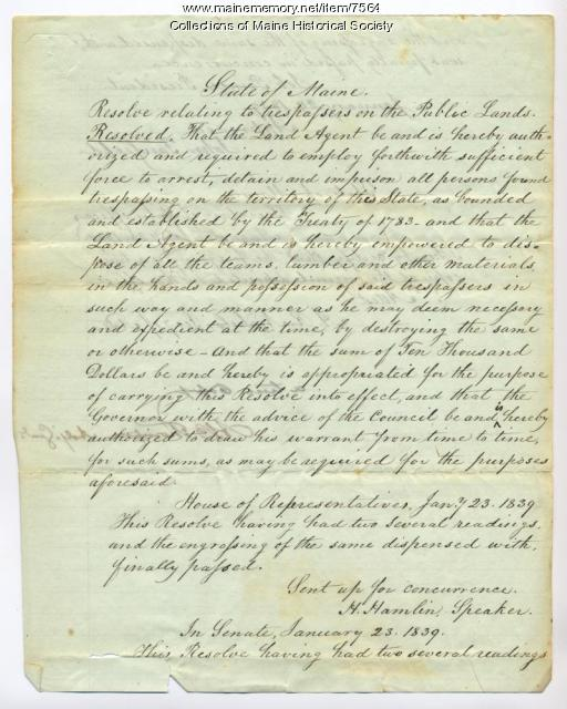 Resolution to send troops to Madawaska region, 1839