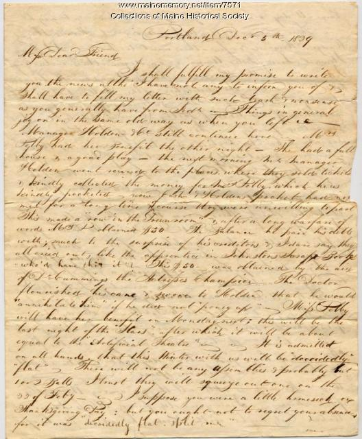 Letter from Ted Jewett to Robert Robison, 1829