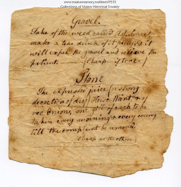 Medical recipe, ca. 1790
