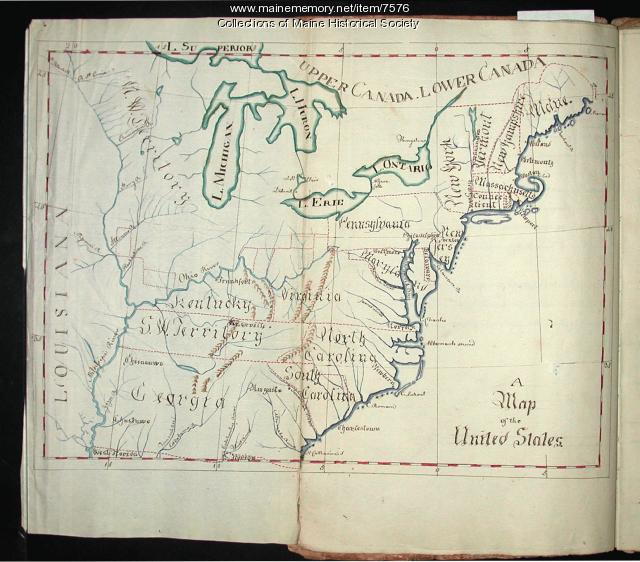 Map of the United States as drawn by Lucia Wadsworth, 1794