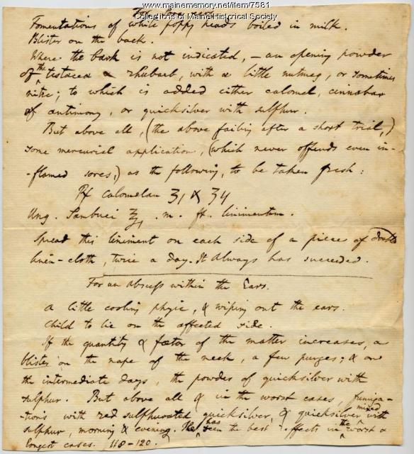 Ear ailment remedies, ca. 1805