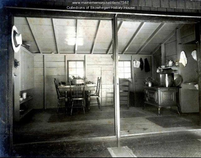 Kitchen, Swan summer camp, Lake Wesserunsett, ca. 1905