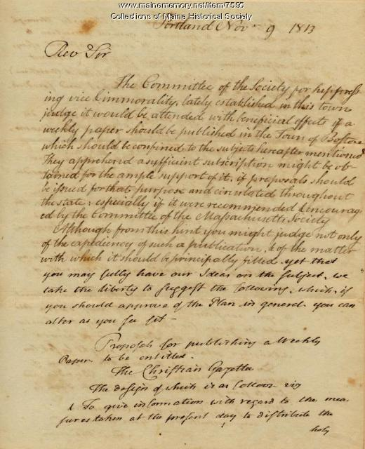 Samuel Freeman letter to Abiel Abbot, Nov. 9, 1813