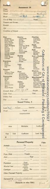 Assessor's Record, 716-730 Stevens Avenue, Portland, 1924