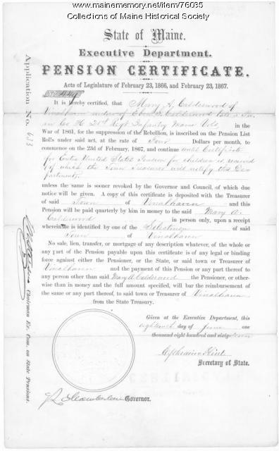 Calderwood pension certificate, Augusta, 1867