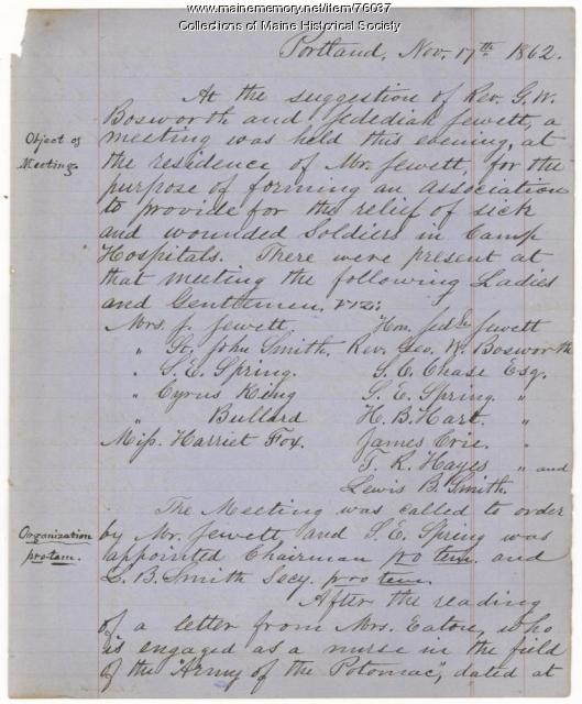 Maine Camp Hospital Association records, Portland, 1862