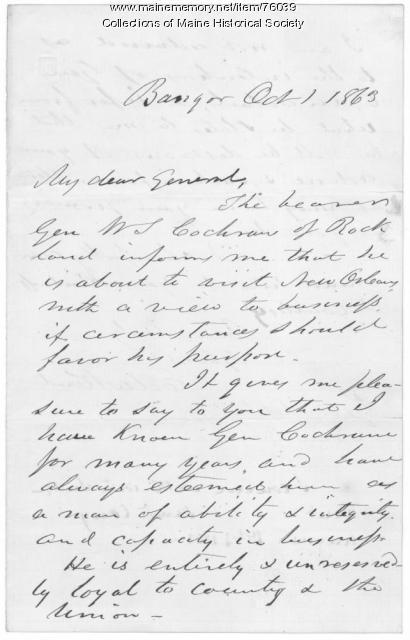 Recommendation of William S. Cochran, Bangor, 1863