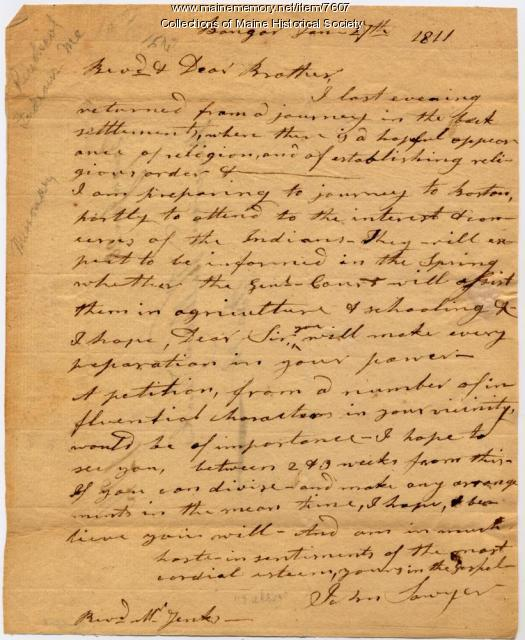 Rev. John Sawyer letter on Indian Mission, Bangor, 1811