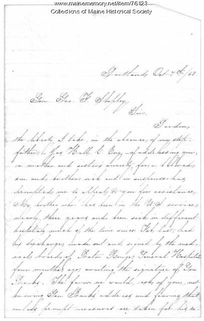 Letter concerning 'ill' soldier, Portland, 1863