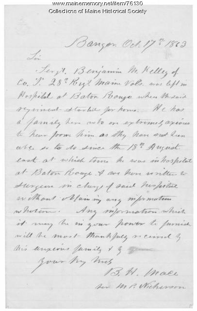 Request for information on ill soldier, Bangor, 1863