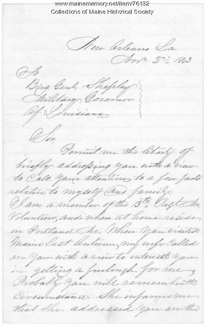 Letter seeking help with furlough, New Orleans, 1863