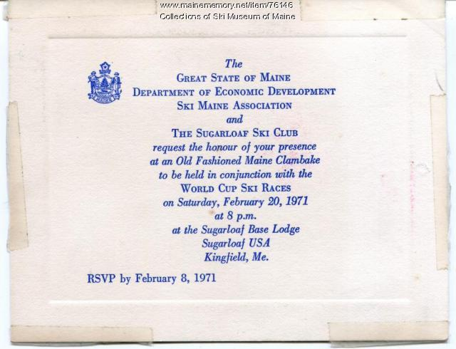 World Cup Clambake Invitation, Carrabassett Valley, 1971