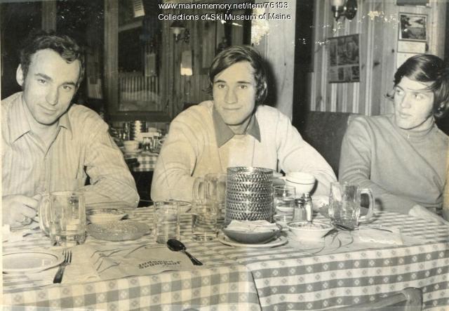 Racers enjoying home cooked food, Carrabassett Valley, 1971
