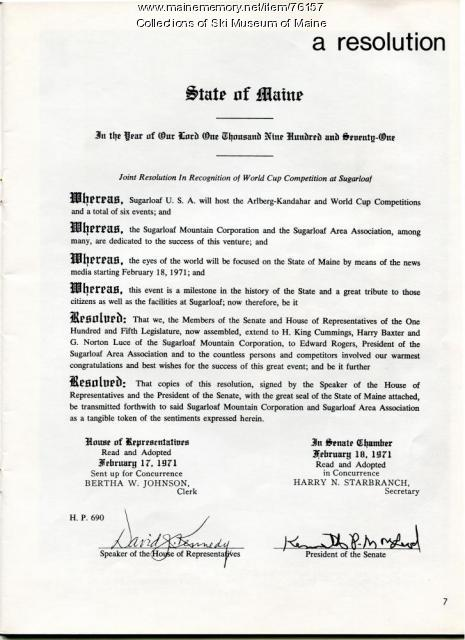 1971 Sugarloaf World Cup Proclamation