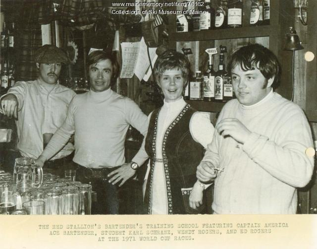 Bartender school at the Red Stallion Inn, Sugarloaf, 1971