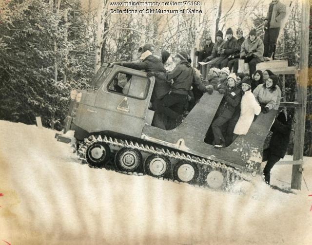 Riding the snowcat, Sugarloaf, 1971