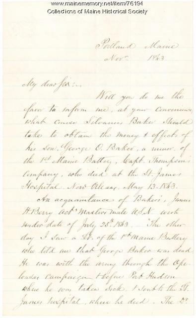 A.W. Longfellow request for soldier's effects, Portland, 1863