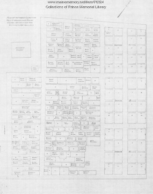 Plan of Methodist Cemetery, Cumberland,  1935