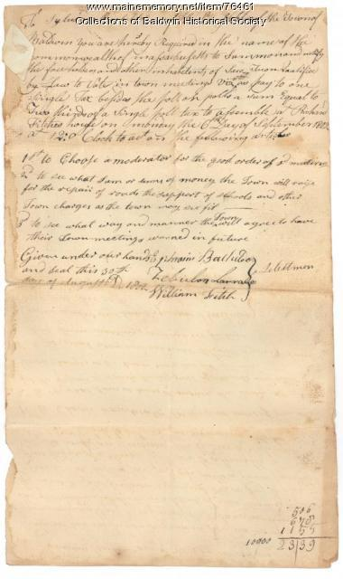 Town Meeting Warrant, Baldwin, 1802