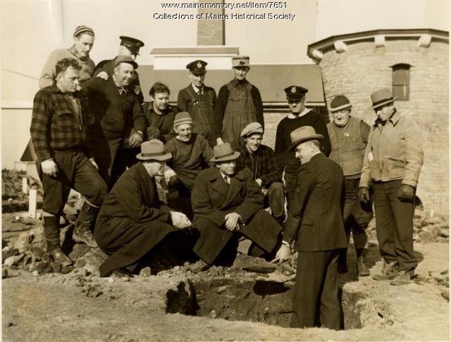 Governor Barrows breaks ground for rearing station, 1938