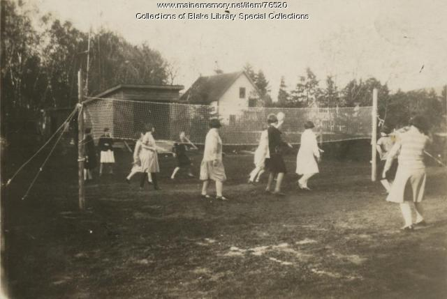 Madawaska Training School students playing volleyball, Fort Kent, 1927