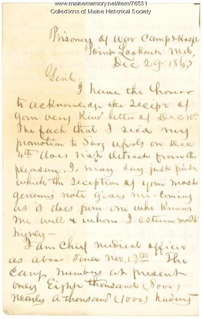 Surgeon Thompson to Gen. Shepley, Point Lookout, MD, 1863