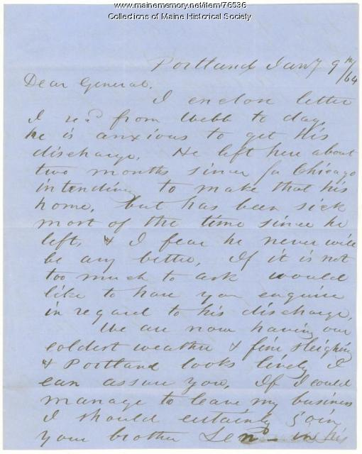 Horatio Jose to Gen. Shepley on Portland events, 1864