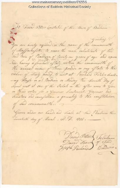 Town Voting Warrant March 20, 1806