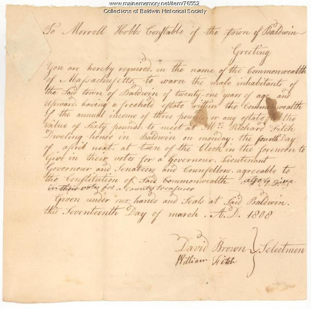 Town Voting Warrant March 17, 1808