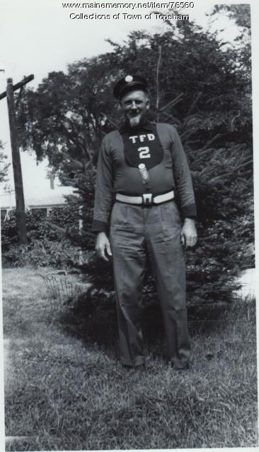 Member of the Androscoggin Veteran Fire Association muster team, Topsham, 1964