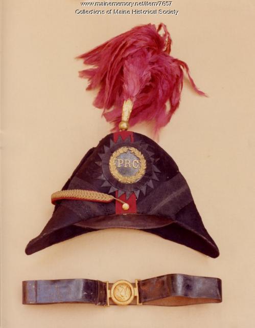 Portland Rifle Corps hat and belt, 1854