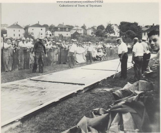 Fire muster stream platform, Gardner, Massachusetts, 1950