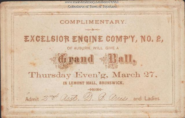 Ticket to fire muster ball at Lemont Hall, Brunswick, 1914