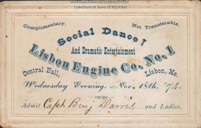 Lisbon Engine Co. #1 fire muster dance ticket, 1874