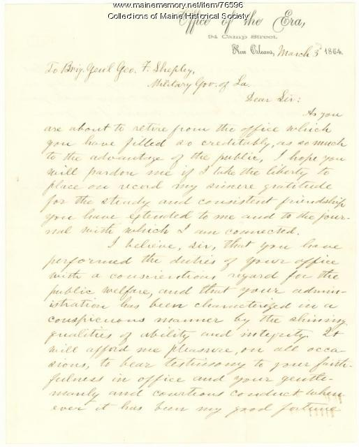 Letter thanking Brig. Gen. Shepley for service, New Orleans, 1864