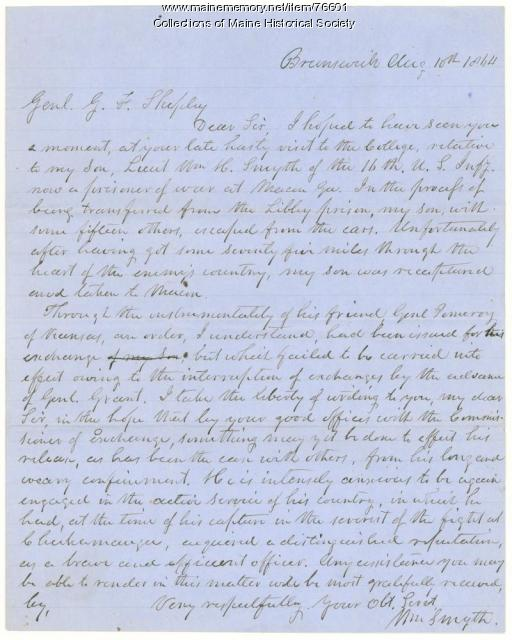 Plea for exchange of prisoner, Brunswick, 1864