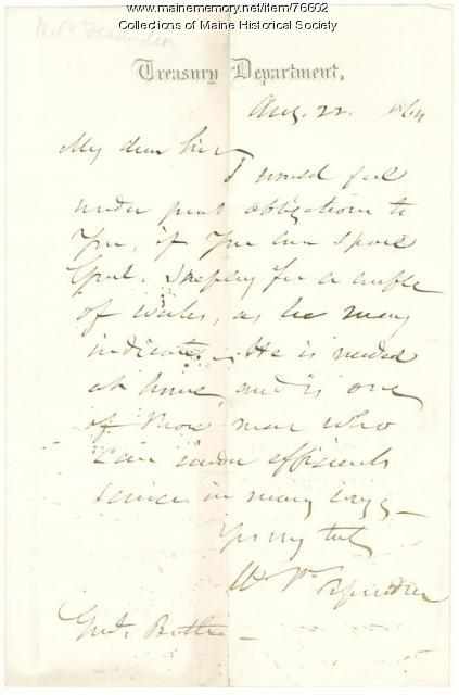 W.P. Fessenden to Gen. Benjamin Butler, Washington, D.C., 1864